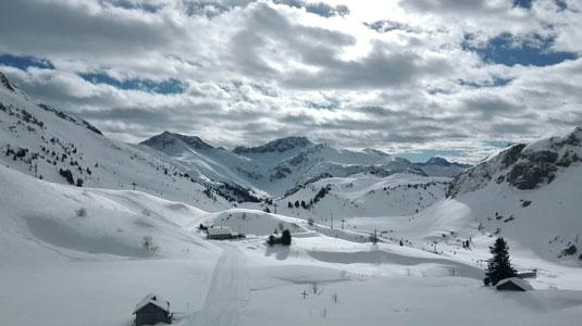 Ausblick auf das Skigebiet