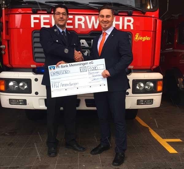 Spendenübergabe an die FFW Amendingen