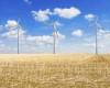 Drei Windkraftanlage auf einem Feld