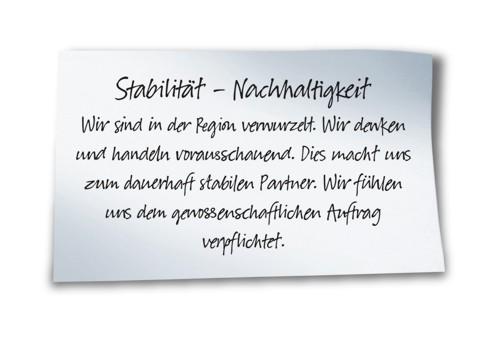 Stabilität - Nachhaltigkeit